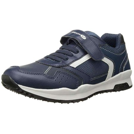 Geox Mens J Coridan Leather Low Top Lace Up Running Sneaker, Navy, Size 6.0