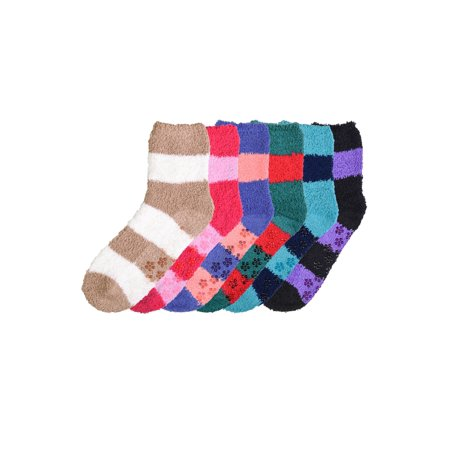 Bottom Socks (6 Pair of Women Plush and Fuzzy Soft Cozy Slipper Socks Warm w/ Non-Skid Bottom Different Colors and Styles )