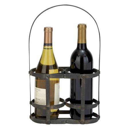 Woodland Imports Savoy Iron Metal Wine Basket 2 Bottle Carrier