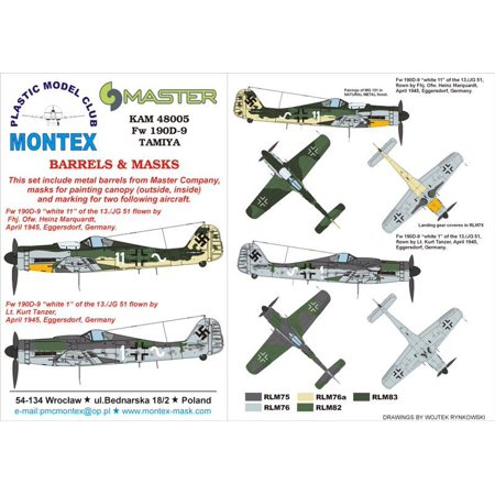 Montex KAM 1:48 Fw-109 D-9 #2 for Tamiya Mask + Metal Part #KAM48005