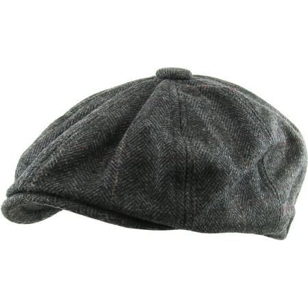 Black Herringbone Applejack Wool Blend Newsboy Gatsby Ivy Hat Golf Driver Ascot