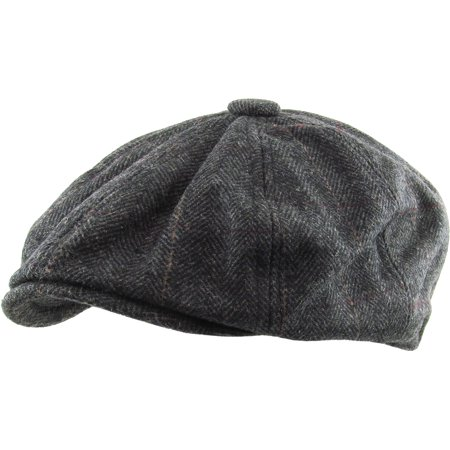 Wool V-neck Golf - Black Herringbone Applejack Wool Blend Newsboy Gatsby Ivy Hat Golf Driver Ascot