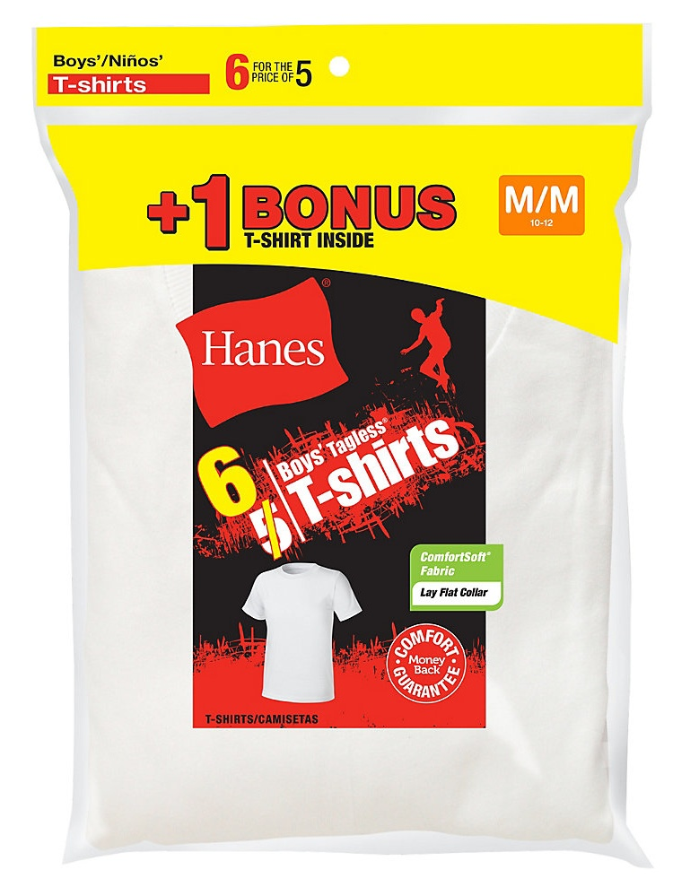 Hanes Boys' TAGLESS® Crewneck Undershirt 6-Pack (Includes 1 Free Bonus Undershirt) B21386