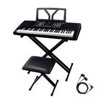 Sawtooth 61 Key Portable Electronic Digital Keyboard Piano with Chromacast Stand, Bench, Earbuds, Built in Metronome & 50 Preset songs to play along with