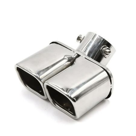 Dtm Dual Muffler Tip (Silver Tone Dual Square Slant Tip Exhaust Muffler Tail Pipe 60mm Inlet Inner Dia)