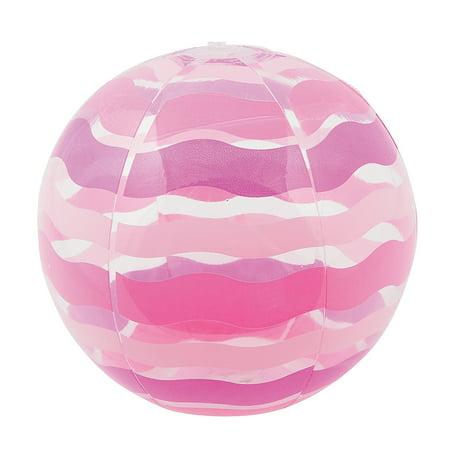 Fun Express - Striped Inflate Beach Ball Pink 1pc - Toys - Inflates - Beach Balls - 1 Piece - Pink Beach Balls