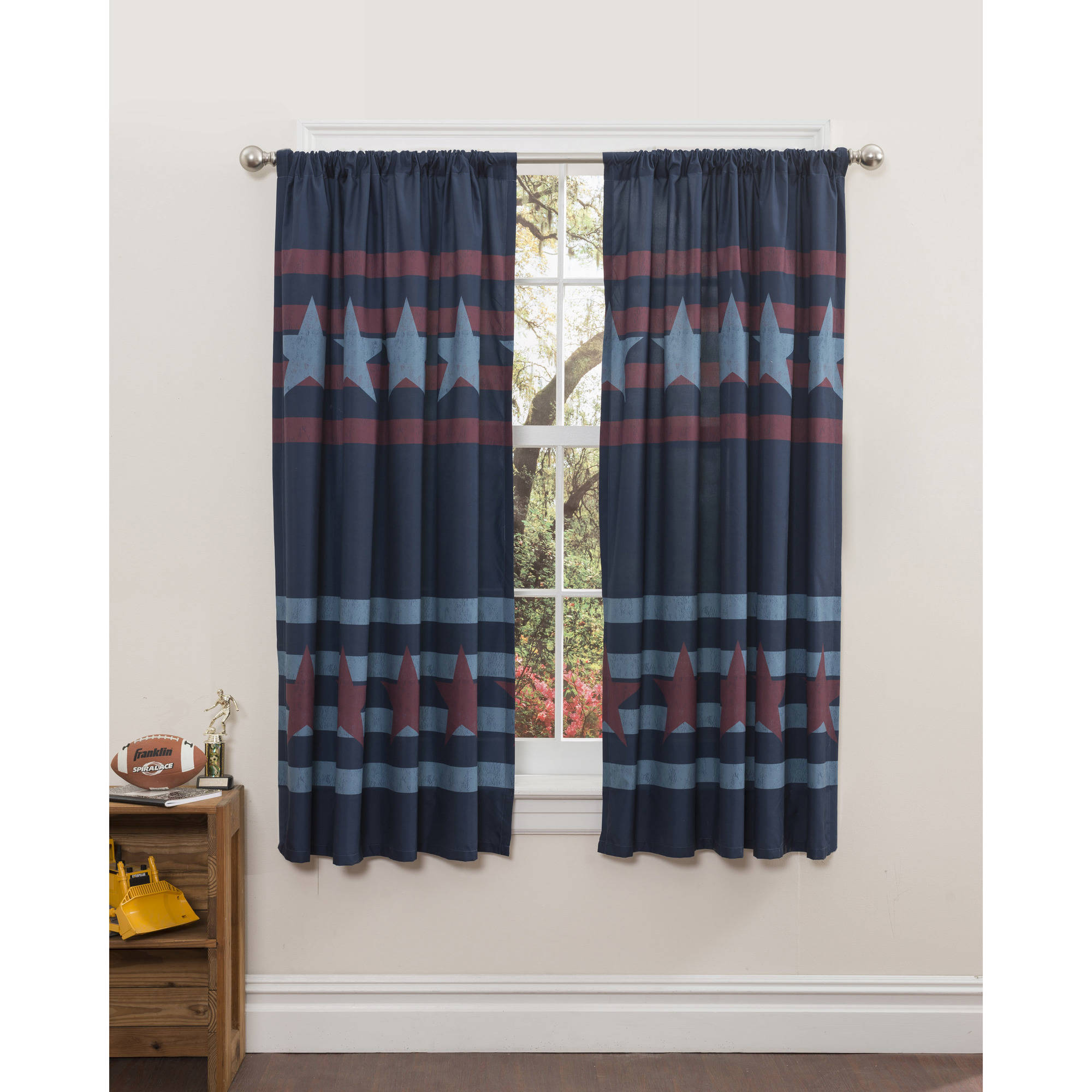 Mainstays Stars-and-Stripes Boys Bedroom Curtains, Set of two by Idea Nuova