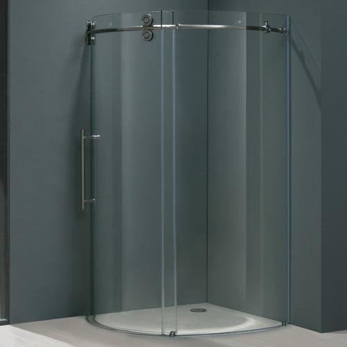 36 in. Frameless Round Stainless Steel Shower Enclosure w Door