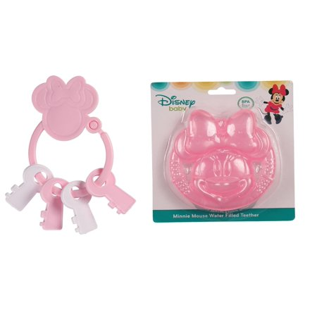 Minnie Molded Dark Pink Water Filled & Light Pink Key Ring Keys Teether Set
