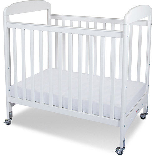 Foundations Serenity Compact Clearview Fixed-Side Crib, White