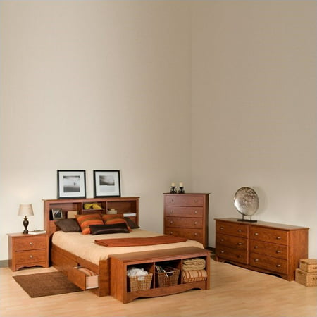 Cherry Oak Bedroom Set - Prepac Monterey Queen 4 Piece Bedroom Set in Cherry
