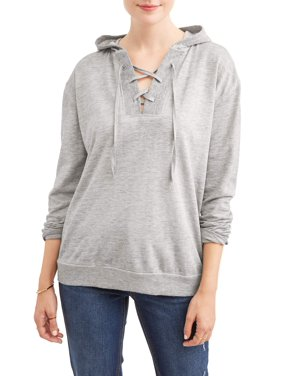 97591840 Product Image Women's Burnout Lace Up Hoodie