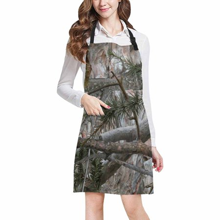 ASHLEIGH Cool Military Camouflage Camo Tree Branches and Leaves Adjustable Bib Apron with Pockets Commercial Restaurant and Home Kitchen Apron for Women
