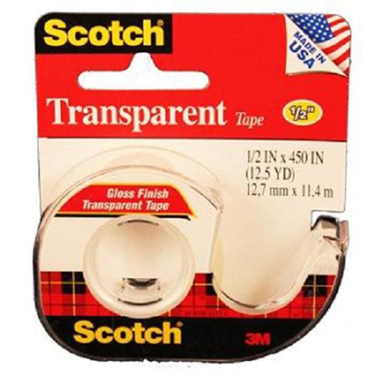 "Scotch Transparent Glossy Tape Dispenser, 1/2"" x 450"""