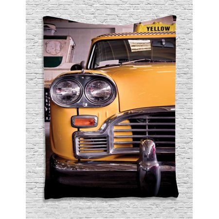 Nyc Decor Wall Hanging Tapestry, Picture Of Antique Yellow Taxi Historical Element Of Old Nyc Nostalgia Vintage Cab Theme, Bedroom Living Room Dorm Accessories, By