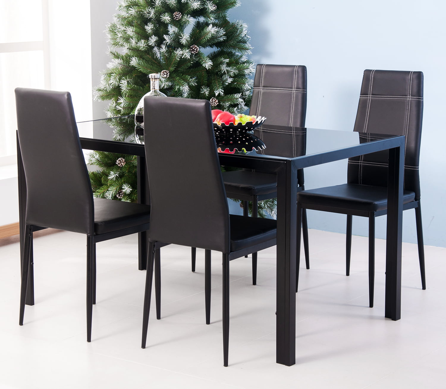 Dining Table Set For 7 Modern Kitchen Tables And Chairs Kitchen Table Set Glass Top Table With 6 Leather Chairs Breakfast Furniture Dining Room Table Set For Small Spaces Kitchen Dining Room