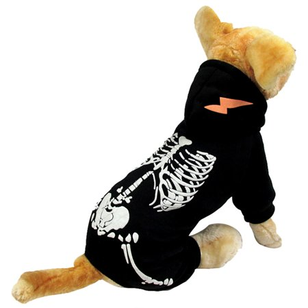 HDE Dog Skeleton Hoodie Pet Halloween Costume One Piece Black Outfit with Skeleton Print and Hood (Black, - Holloween Dog Costumes