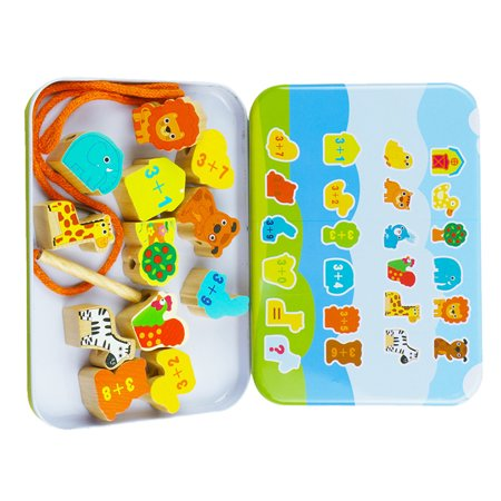 Cartoon Animal Fruit Blocks Set Wooden Stringing Beaded Toys Children Learning Education Colorful Products Kids Toy - image 4 de 8