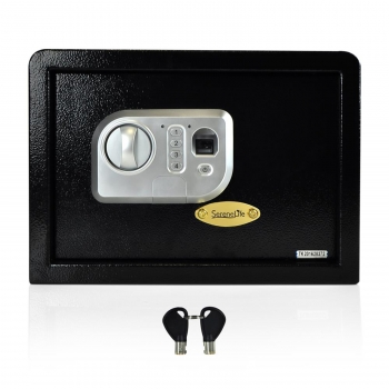 Electronic Fingerprint Safe Box with Mechanical Override, Includes Keys