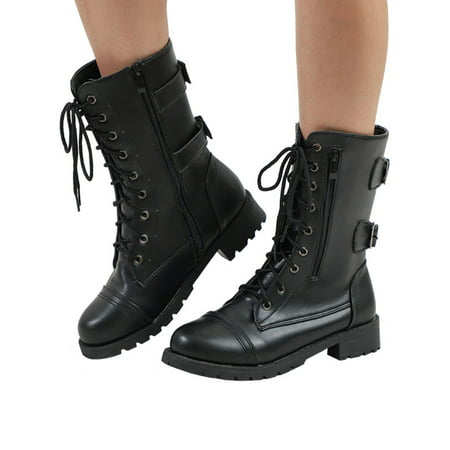 Ladies Womens Combat Army Military Worker Lace Up Flat Biker Zip Ankle Boots ()