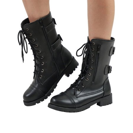 Ladies Womens Combat Army Military Worker Lace Up Flat Biker Zip Ankle