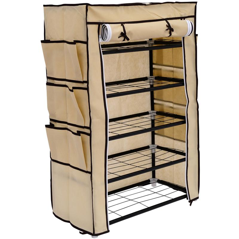 HomCom Portable Storage Closet Shoe Organizer Rack - Cream