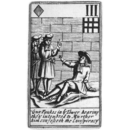 Guy Fawkes (1570-1606) Nenglish Conspirator Guy Fawkes Imprisoned In The Tower Of London Confesses To The Gunpowder Plot To Blow Up The Houses Of Parliament Engraved English Playing Card 1659 Rolled C ()