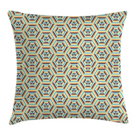 Geometric Decor Throw Pillow Cushion Cover, Pop Art Style Retro Dimensional Gradient Fractal Triangle Figures Illustration, Decorative Square Accent Pillow Case, 16 X 16 Inches, Multi, by Ambesonne ()