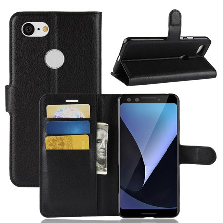 Google Pixel 3 Case, Premium Leather Wallet Case Pixel 3 Horizontal Flip Cover with Credit Card Holder Slot and Magnetic Closure for Google Pixel 3 [5.5 Inch] - Black