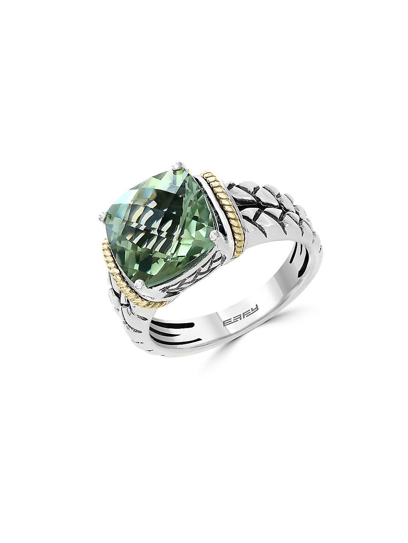 Green Amethyst, 18K Yellow Gold & Sterling Silver Ring