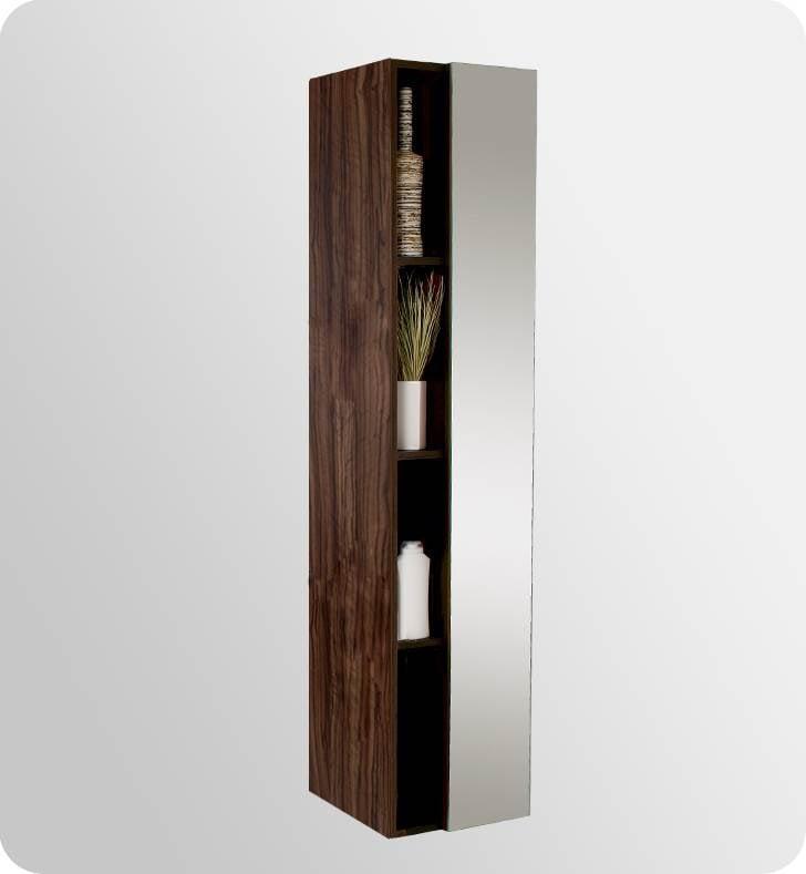 Fresca Senza Bathroom Linen Side Cabinet with Cubby Holes in Walnut