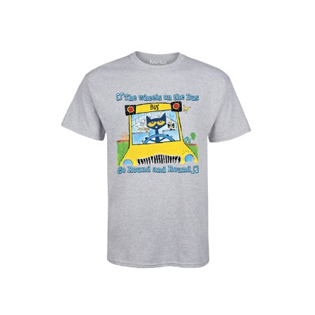 Pete The Cat Wheels On The Bus Multi  - Adult Short Sleeve - Wheel Shift