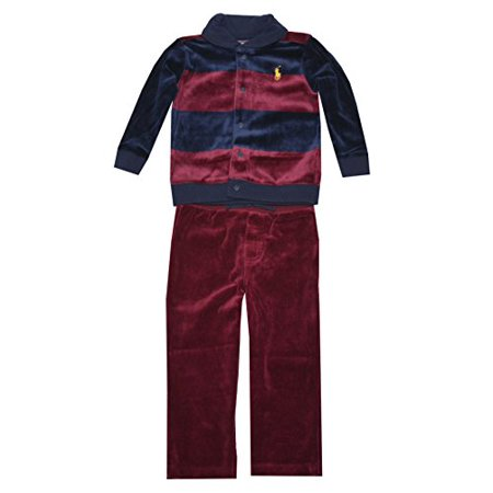 Ralph Lauren Baby Boys Striped Velour Set (9 Months, Vintage Red Port Multi)