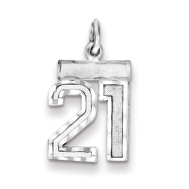 925 Sterling Silver Small #21 Pendant Charm Necklace Sport Fine Jewelry Gifts For Women For Her - image 2 de 2