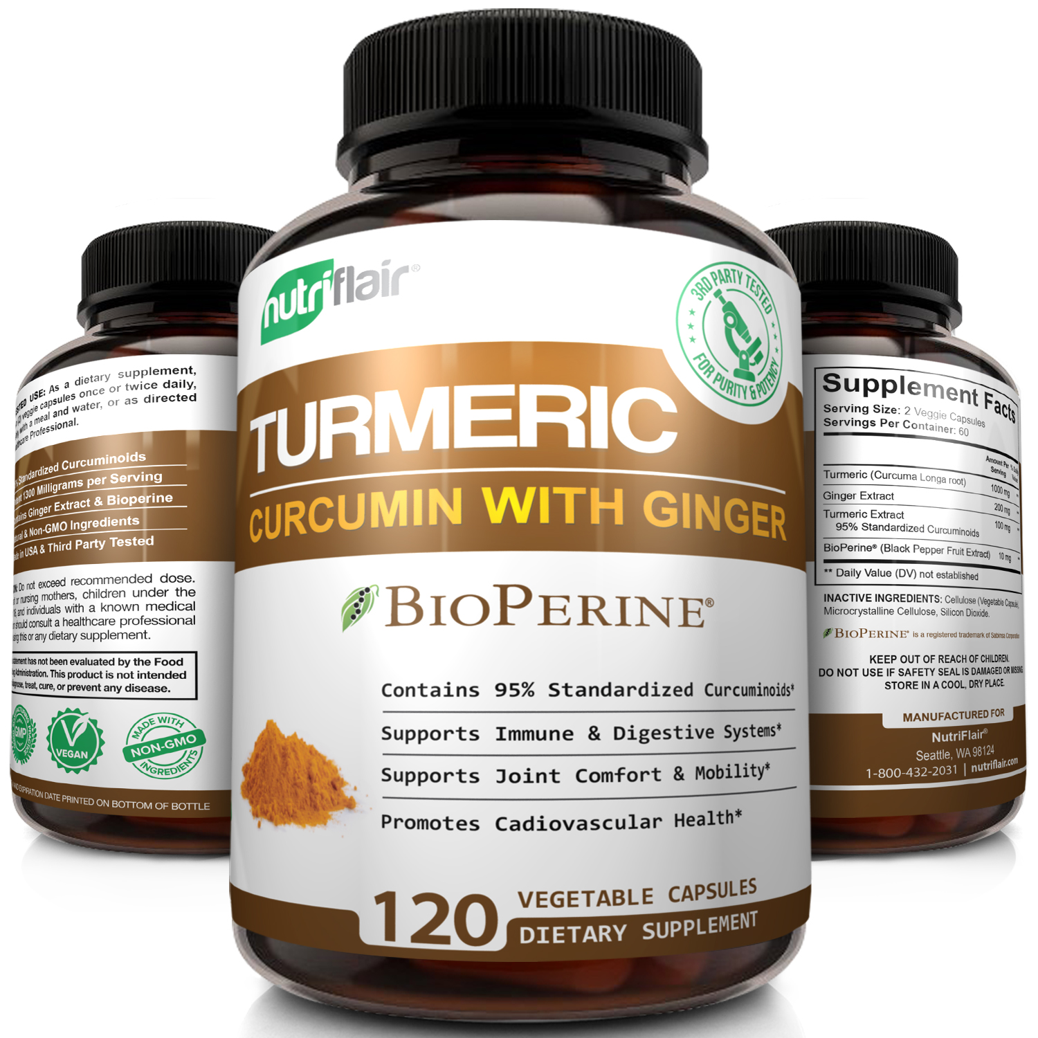 NutriFlair Turmeric Curcumin with Ginger and BioPerine Black Pepper, 1000mg Turmeric Capsules - Highest Potency Pain Relief, Joint Support, Non GMO, Gluten Free, 120 Capsules