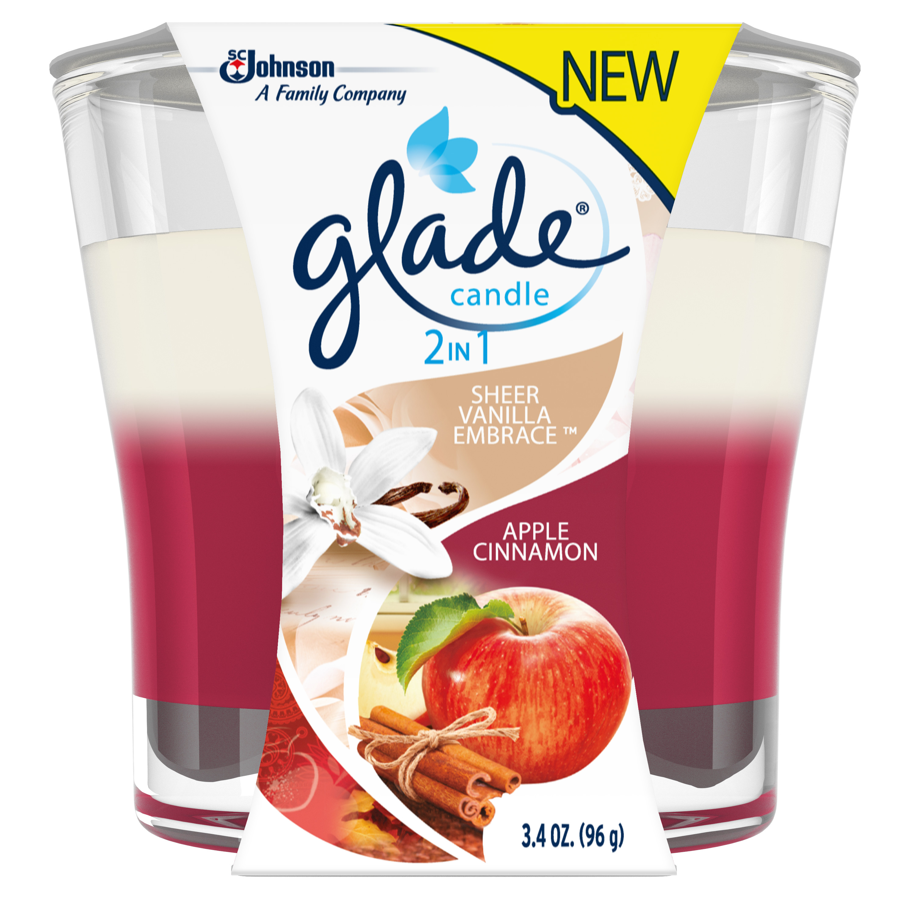 Glade Candle, 2 in 1: Creamy Custard & Apple Cinnamon, 3.4 oz. by SC Johnson