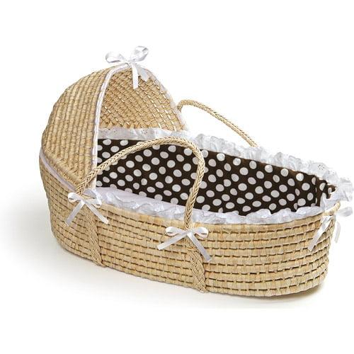 Badger Basket - Natural Moses Basket with Hood and Brown Polka Dot Bedding