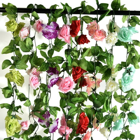 CUH Artificial Silk Rose Flower Garland  Flower Vine for Home Wedding Garden Party (Teal Green Roses)
