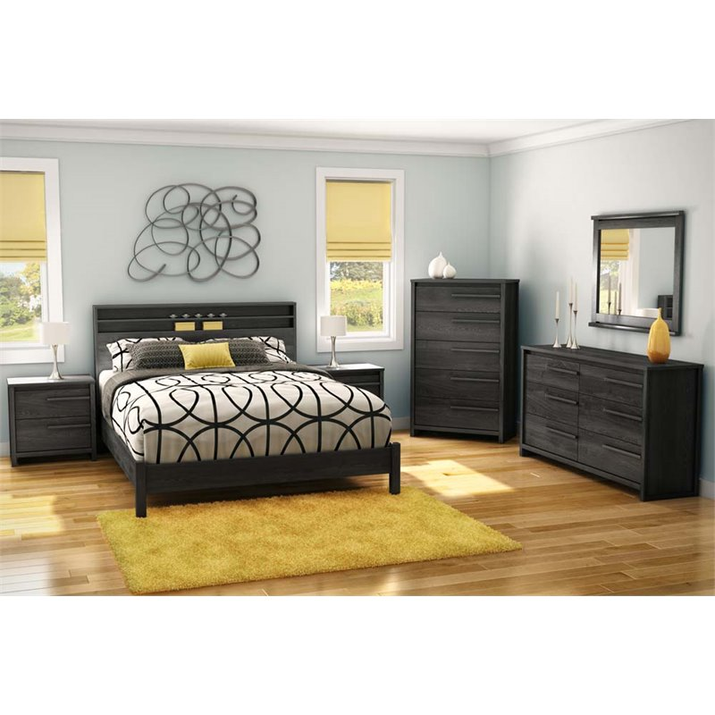 South Shore Tao Queen Platform Bed on Legs, Gray Oak
