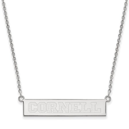 """Solid 925 Sterling Silver Logo Art Cornell University Small Bar Necklace Chain 18"""""""