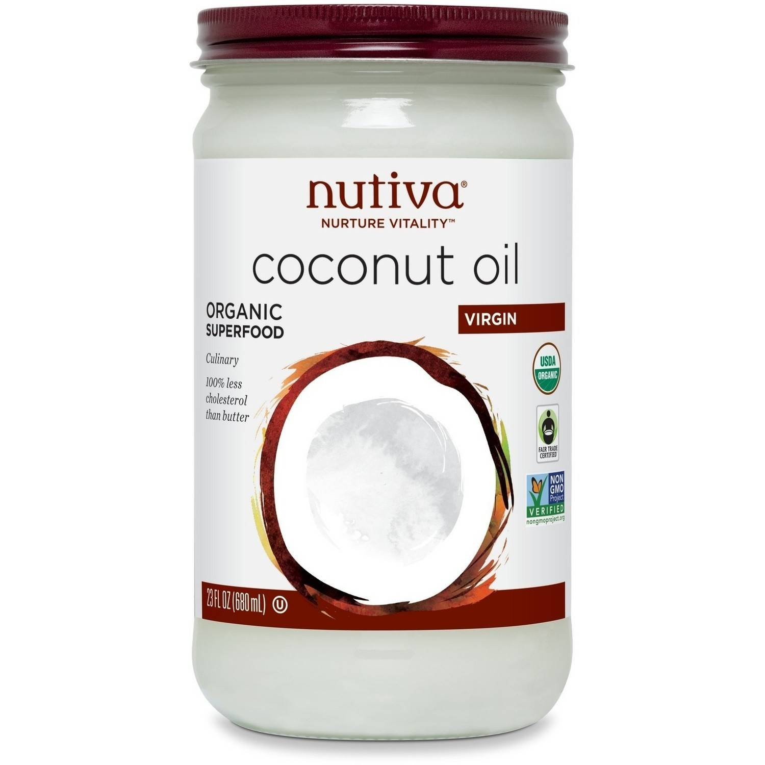 Nutiva Virign Coconut Oil, Glass Jar, 23 Count (Pack of 2)