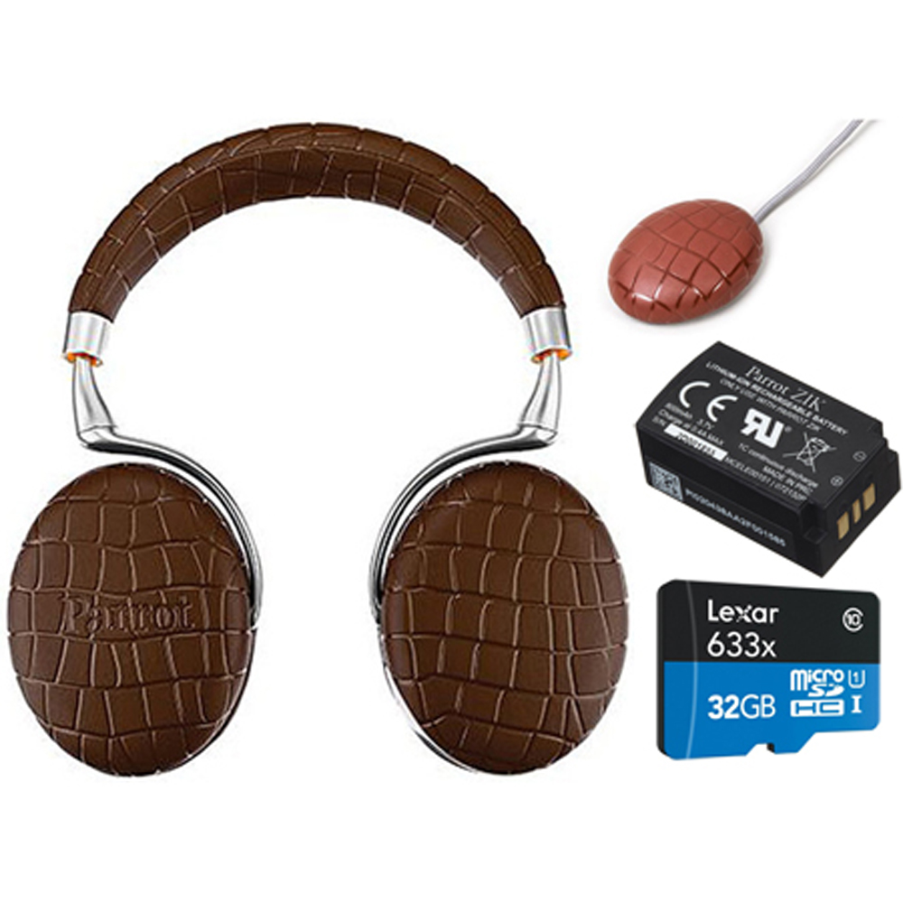 Parrot Zik 3 Wireless Noise Cancelling Headphones with Wireless Charger, Battery + Lexar 32GB MicroSDHC UHS-I 633X High-Performance Memory Card Bundle (Brown Croc)