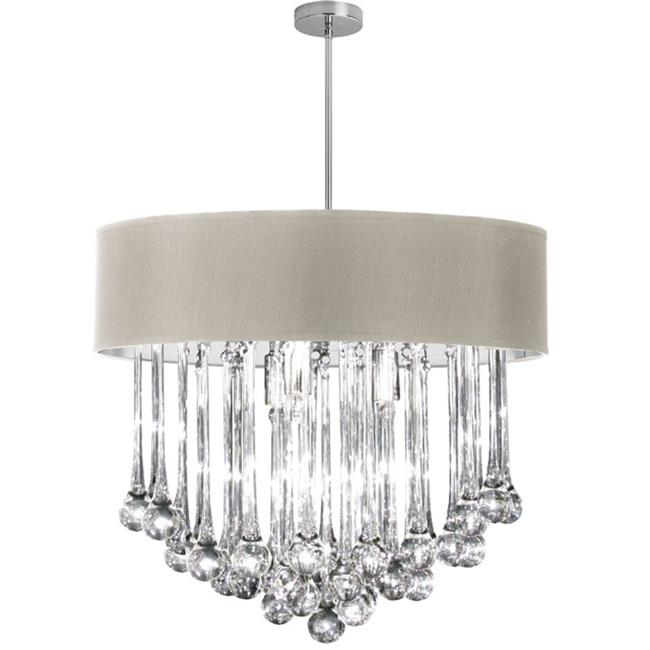 Dainolite TAM-238C-PEB 8 light Chandelier with Glass Droplets, Polished Chrome, Pebble Shade
