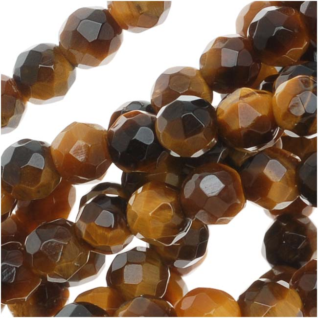 Tiger Eye Gemstone 4mm Faceted Round Beads 'Grade A' - 15.5 Inch Strand (Brown & Gold)