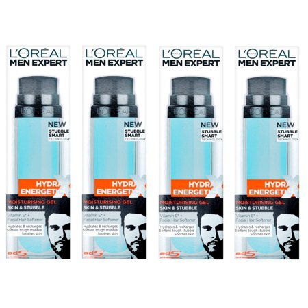 L'Oreal Men's Expert Hydra Energetic Moisturizing Gel for Skin and Stubble, 50 ml (1.7 Oz) (Pack of 4) + Cat Line Makeup Tutorial