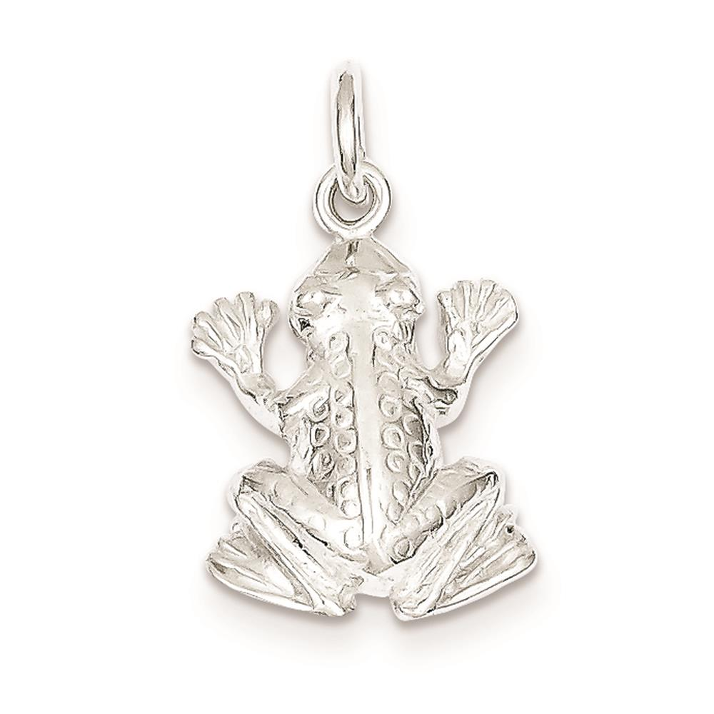 Sterling Silver Frog Solid Open back 3-D Charm Pendant 21mmx15mm