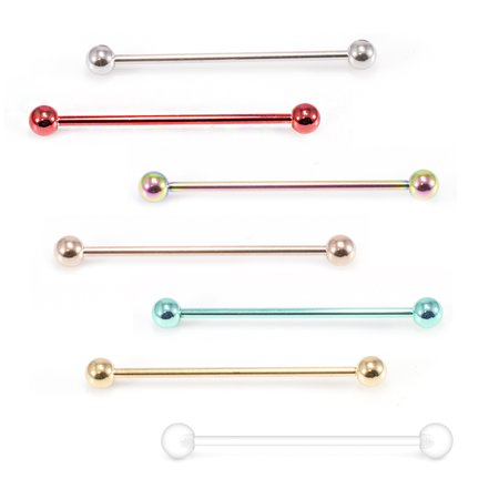 Pack of 2 Stainless Steel Industrial Barbell and Retainer Earring Cartilage Body Piercing Jewelry 14G 1 1/2 Inch- Rose Gold ()