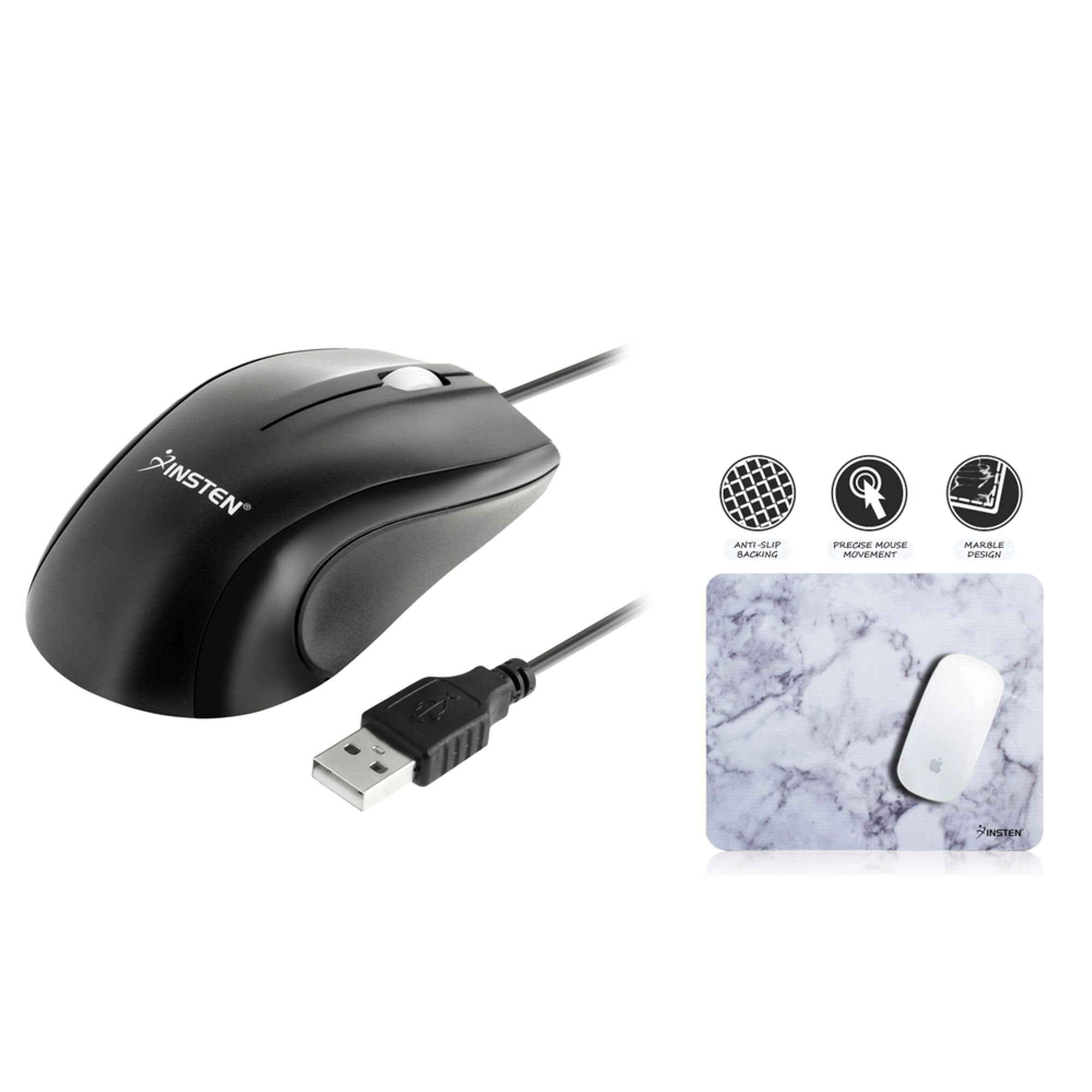 Insten Optical Mouse Black USB Scroll Wheel + Laptop Mouse Pad White Marble