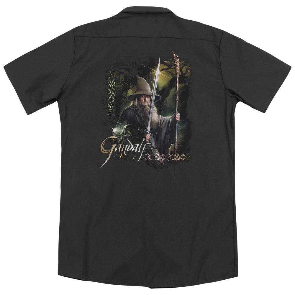 Trevco Hobbit Sword And Staff (Back Print) Mens Work Shirt