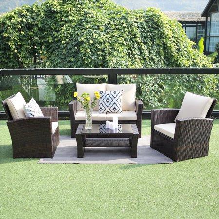 Outdoor Patio Furniture Set,Wisteria Lane 4-Piece Garden Rattan Sofa Wicker sectional Sofa Seat with Coffee Table,Brown ()